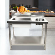 Stainless Steel Work Table Station Breading Table Fried Food Commercial Home