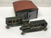 Vintage 1920's Kellerman Tin Toy Garage W/ Two Cko Limo's Made In Germany 215