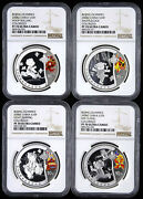 Ngc Pf70 China 2008 Beijing Olympic Games 1st - 4 X 1 Oz Colored Silver Coins