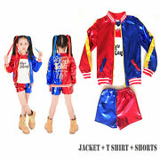 Kids Girl Suicide Squad Harley Quinn Halloween Costume Cosplay Party Fancy Dress