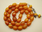 Old Real Antique Rare Natural Amber Necklace / Rosary / Prayer Beads / 44 Grams