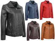 Ladies Real Leather Jacket Casual Zip Up Asst Colours Black Blue Brown Red Tan