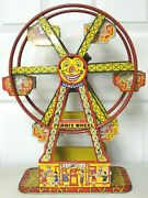 Vintage 1950s J Chein Tin Lithograph Wind Up Hercules Ferris Wheel, Works Good