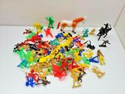 Huge Lot Of Vintage Toy Plastic Cowboys And Indians, Mostly Hong Kong
