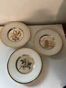 Vintage The Art Of Chokin 24k Gold Edge Small Plates 6 Lot Of 3