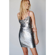 New Free People Small Bali Ciao Belle Sequin Mini Dress Velvet Strap Silver Rose