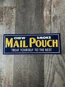 """Vintage Used Mail Pouch Tobacco 4"""" X 11"""" Embossed Tin Advertising Sign"""