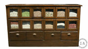 Vintage 16 Drawer Bean And Seed Cabinet With Potbelly Drawers