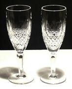 2 Vintage Waterford Crystal Colleen Tall Champagne Flute Glasses 7 3/8