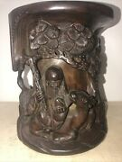 Antique/ Vintage Chinese Hand Carved Special Hard Heavy Wood Brush Pot H 7 3/4andrdquo