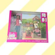 New Barbie Doll Sweet Orchard Farm And Vet Playset Mattel 🍎🐄🐎🐑🐥