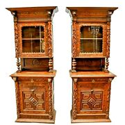 Antique Cupboards French Matched Pair Carved Wood 92 1/2 H. Set Of 2 1800s