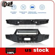 Bulkier Black Front Rear Bumper Guard W/ Led And Winch Plate For Ford F150 09-14