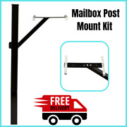 Mailbox Post Mount Kit Drive In No Digging Heavy Duty Galvanized Steel Black New