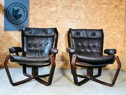 Vintage Scandinavian Viking Chair Set In Coco Leather 1970s 2