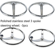 4pcs Stainless Steel Boat Steering Wheel Knob And Nut 3 Spokes 13-1/2 Dia