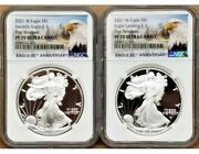 2 Coin Set - 2021 W Proof Silver Eagle Type 1 And 2 Ngc Pf70uc First Releases