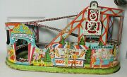 Vintage J. Chein Rollercoaster W/key And 2 Cars Winds Up Drive Belt Needs Replaced