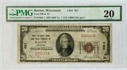 1929 20 National Currency Note First Bank Trust Racine Wi Fr-1820-1 Pmg 20 Vf
