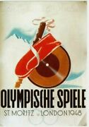 Original Vintage Poster Olympic Games 1948 London And St.moritz