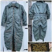 Vintage Military Mens Usa Air Force Flight Suit Flying Coverall Small - Short