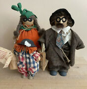Vintage Lizzie High Wooden Halloween Dolls Tags Attached 3-piece Lot