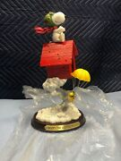 Peanuts -snoopy The Ww1 Flying Ace Figurine- Very Rare- The Danbury Mint-