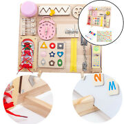 Baby Busy Board Zipper Lace Button Skills Travel Activity Sensory Board Toy