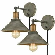 Vintage Swing Arm Wall Sconces Hardwired Or Plug-in Bedroom Bath Wall Lamps