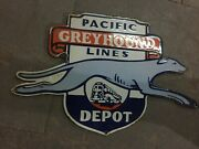 Porcelain Pacific Greyhound Lines Enamel Sign Size 20 X 12.75 Inches
