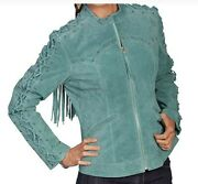 Womenand039s Lace Up Sleeve Suede Jacket Feroze And Black Westren Cowgirl Country