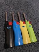 Lot Of 4 Mk Refillable Candle Bbq Lighters, Windproof, Variety Colors, New