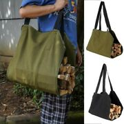 Firewood Carrier Bag Waxed Canvas Fireplace Carrier Large Log Tote 1 Pack Set