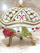 Limited Edition Faberge Egg And Sterling Silver Ruby Necklace And Ruby Bracelet Hmde