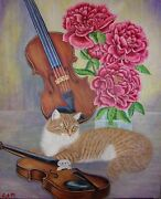 Original Oil Painting- Ginger Cat With Violins And Peonies -size 20x 24 X 5/8