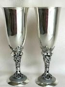 Pair Solid Sterling Silver 925 Wine Goblet Cups With Tag Signed 201 Gr