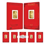Lot Of 5 - 5 Gram Pamp Suisse Year Of The Ox Gold Bar In Assay