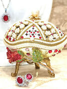 Russian Easter Egg Faberge Egg And Ruby Sterling Silver Jewelry Set Christmas Gift