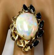 Estate Womenand039s Engagement Cocktail 8.2ct Opal Blue Sapphire Ring 14k Yellow Gold