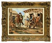 Painting Oil On Canvas Western Standoff Wes Campbell 1900and039s Signed Framed