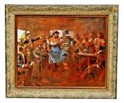 Painting Oil Western / Mexican Charles W. Shaw D.2005 Saloon Dancers