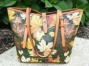 Dooney And Bourke Olive 🍁 Maple Leaf Dover Tote 🍂 Fall Autumn 💎 Rare Gem