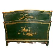 Antique Chinoiserie Bed, Lacquered And Paint Decorated Bed, Aisan Theme, 1900's