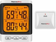 Thermopro Tp62 Digital Wireless Hygrometer Indoor Outdoor Thermometer Tempera...