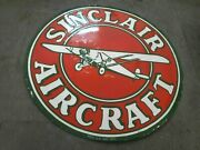 Porcelain Sinclair Aircraft Enamel Sign Size 30 Inches Double Sided