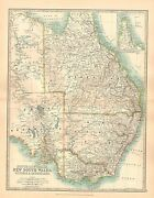 1911 Large Victorian Map South Australia Victoria New South Wales Queensland