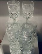 """Vintage Anchor Hocking Wexford Footed Water Goblets 6.75"""" Set Of 7"""