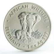Zambia 5000 Kwacha African Wildlife Series Elephant Silver Coin 1999
