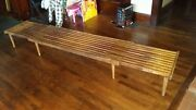 Mid Century Expandable Slat Bench Coffee Table By John Keal For Brown Saltman