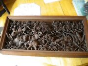 Antique Carved Exotic Wood Jungle Scene Out Of This World Wall Art